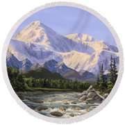 Majestic Denali Mountain Landscape - Alaska Painting - Mountains And River - Wilderness Decor Round Beach Towel
