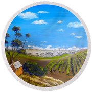Mclarren Vale Vine Yards Round Beach Towel