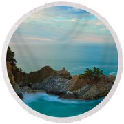Mcway Falls At Sunrise Round Beach Towel