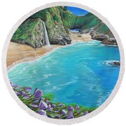 Mcway Falls Round Beach Towel by Jane Girardot