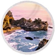 Mcway Falls Pacific Coast Round Beach Towel