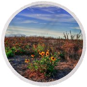Round Beach Towel featuring the photograph Meadow Of Wild Flowers by Eti Reid
