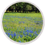 Meadows Of Blue And Yellow. Texas Wildflowers Round Beach Towel by Connie Fox