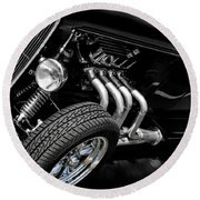 Vehicles Round Beach Towel featuring the photograph Mean Machine Classic by Aaron Berg