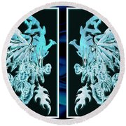 Mech Dragons Diamond Ice Crystals Round Beach Towel