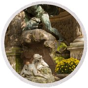 Medici Fountain - Paris Round Beach Towel by Brian Jannsen