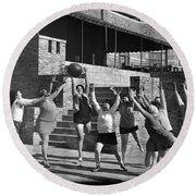 Medicine Ball Exercise Round Beach Towel