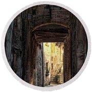Medieval Alley Round Beach Towel by Joan  Minchak