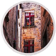 Medieval Architecture Round Beach Towel
