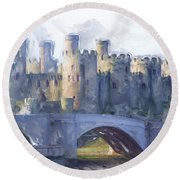 Medieval Conwy Castle.  Round Beach Towel