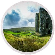 Medieval Dunmanus Castle On Ireland's Mizen Peninsula Round Beach Towel