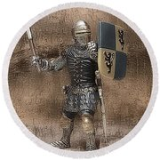 Round Beach Towel featuring the photograph Medieval Knight by Aaron Berg
