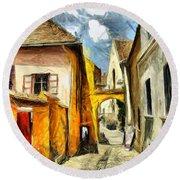 Medieval Street In Sighisoara Transylvania Romania - Painting Round Beach Towel