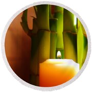 Meditation Candle And Bamboo Round Beach Towel