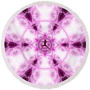 Round Beach Towel featuring the digital art Meditation Galaxy 4 by Derek Gedney