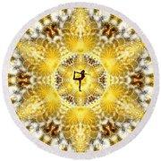 Round Beach Towel featuring the digital art Meditation Galaxy 8 by Derek Gedney
