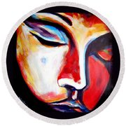 Round Beach Towel featuring the painting Meditation by Helena Wierzbicki