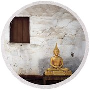 Meditation In Laos Round Beach Towel