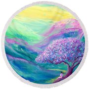 Meditation In Mauve Round Beach Towel