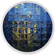 Mediterranean Blue. Modern Mosaic Tile Art Painting Round Beach Towel by Mark Lawrence