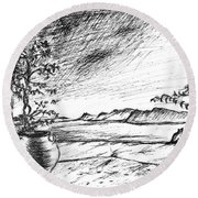 Round Beach Towel featuring the drawing Mediterranean Cat by Teresa White