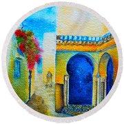 Round Beach Towel featuring the painting Mediterranean Medina by Ana Maria Edulescu