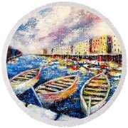 Mediterranean Port Colours Round Beach Towel