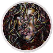 Medusa No. Three Round Beach Towel