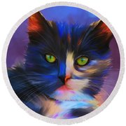 Meesha Colorful Cat Portrait Round Beach Towel