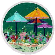 Meet Me At The Cafe Round Beach Towel