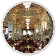 Meet Me For Coffee - New York Cafe - Budapest Round Beach Towel by Lucinda Walter