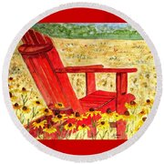Meet Me In The Meadow Round Beach Towel by Angela Davies