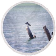 Round Beach Towel featuring the photograph Meeting Place by Erika Weber