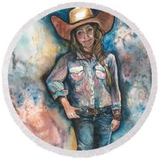 Little Britches Round Beach Towel