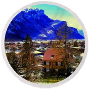 Meiringen Switzerland Alpine Village Round Beach Towel