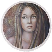 Melancholy 080808 Round Beach Towel by Selena Boron