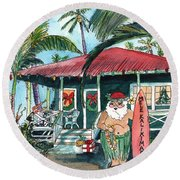 Mele Kalikimaka Hawaiian Santa Round Beach Towel
