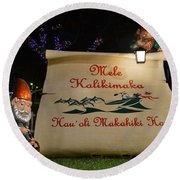 Mele Kalikimaka Sign And Elves Round Beach Towel