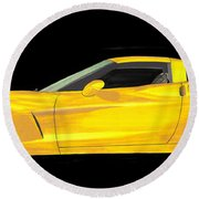 Mellow Yellow Corvette C 6 Round Beach Towel