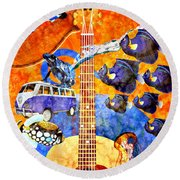 Melodies And Sunset Seas Round Beach Towel