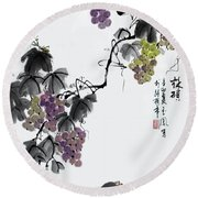 Round Beach Towel featuring the painting Melody Of Life II by Yufeng Wang