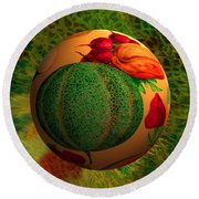 Melon Ball  Round Beach Towel by Robin Moline