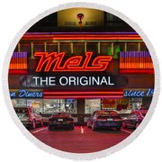 Mels Diner Round Beach Towel by Gary Warnimont
