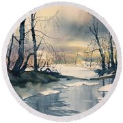 Melt Water On Skipwith Common Round Beach Towel