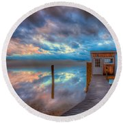 Melvin Village Marina In The Fog Round Beach Towel