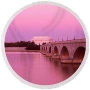 Memorial Bridge, Washington Dc Round Beach Towel by Panoramic Images