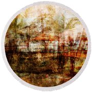 Round Beach Towel featuring the mixed media Memories #1 by Sandy MacGowan