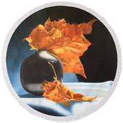 Memories Of Fall - Oil Painting Round Beach Towel