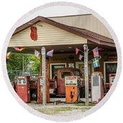 Memories Of Route 66 Round Beach Towel