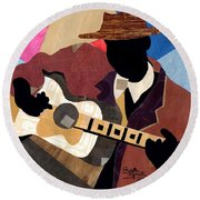 Memphis Blues Round Beach Towel by Everett Spruill